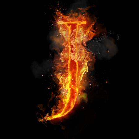 infernal: Fire letter J of burning flame. Flaming burn font or bonfire alphabet text with sizzling smoke and fiery or blazing shining heat effect. Incandescent hot red fire glow on black background