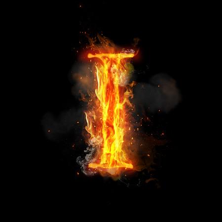불타는 불꽃의 화재 편지 I. 타오르는 연기와 불 같은 또는 타오르는 빛나는 열 효과 타오르는 글꼴 또는 모닥불 알파벳 텍스트를 불타. 검정색 배경에  스톡 콘텐츠