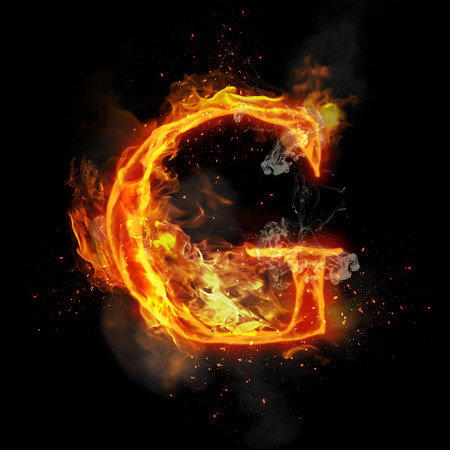 infernal: Fire letter G of burning flame. Flaming burn font or bonfire alphabet text with sizzling smoke and fiery or blazing shining heat effect. Incandescent hot red fire glow on black background