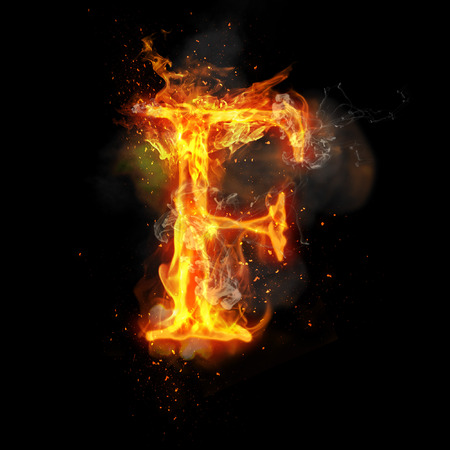 infernal: Fire letter F of burning flame. Flaming burn font or bonfire alphabet text with sizzling smoke and fiery or blazing shining heat effect. Incandescent hot red fire glow on black background