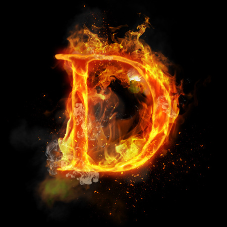 infernal: Fire letter D of burning flame. Flaming burn font or bonfire alphabet text with sizzling smoke and fiery or blazing shining heat effect. Incandescent hot red fire glow on black background