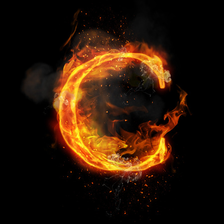 fervent: Fire letter C of burning flame. Flaming burn font or bonfire alphabet text with sizzling smoke and fiery or blazing shining heat effect. Incandescent hot red fire glow on black background Stock Photo