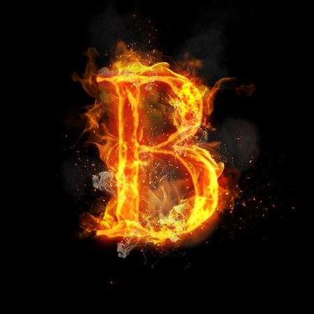Fire letter B of burning flame. Flaming burn font or bonfire alphabet text with sizzling smoke and fiery or blazing shining heat effect. Incandescent hot red fire glow on black background Stock Photo
