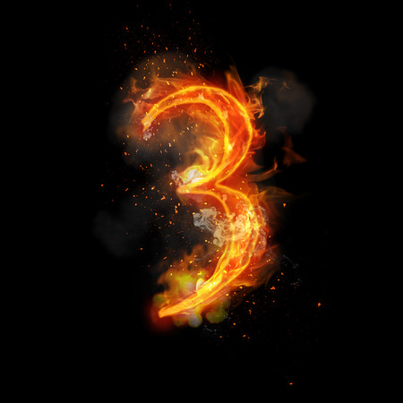 infernal: Fire number 3 three of burning flame. Flaming burn font or bonfire alphabet text with sizzling smoke and fiery or blazing shining heat effect. Incandescent hot red fire glow on black background Stock Photo