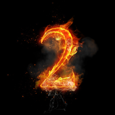 flame burn: Fire number 2 two of burning flame. Flaming burn font or bonfire alphabet text with sizzling smoke and fiery or blazing shining heat effect. Incandescent hot red fire glow on black background Stock Photo