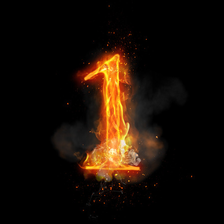 flame burn: Fire number 1 one of burning flame. Flaming burn font or bonfire alphabet text with sizzling smoke and fiery or blazing shining heat effect. Incandescent hot red fire glow on black background Stock Photo
