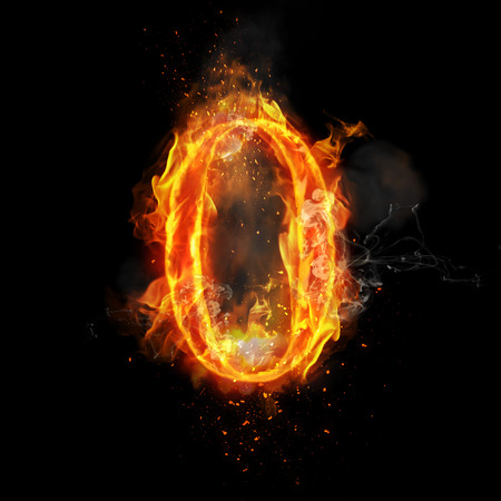 Fire number zero of burning flame. Flaming burn font or bonfire alphabet text with sizzling smoke and fiery or blazing shining heat effect. Incandescent hot red fire glow on black background