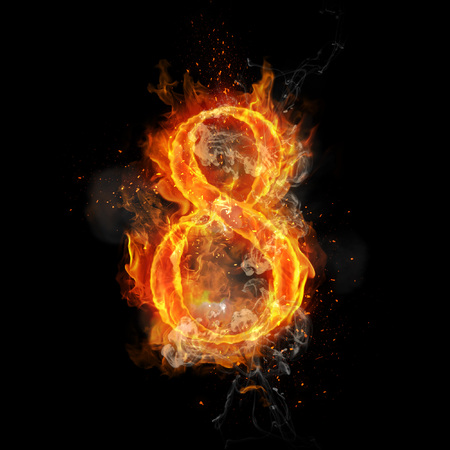 infernal: Fire number 8 eight of burning flame. Flaming burn font or bonfire alphabet text with sizzling smoke and fiery or blazing shining heat effect. Incandescent hot red fire glow on black background
