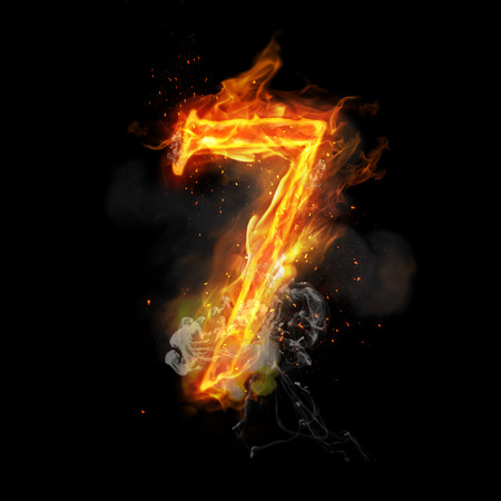 flame burn: Fire number 7 seven of burning flame. Flaming burn font or bonfire alphabet text with sizzling smoke and fiery or blazing shining heat effect. Incandescent hot red fire glow on black background Stock Photo