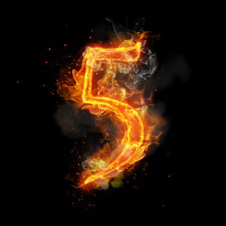 infernal: Fire number 5 five of burning flame. Flaming burn font or bonfire alphabet text with sizzling smoke and fiery or blazing shining heat effect. Incandescent hot red fire glow on black background