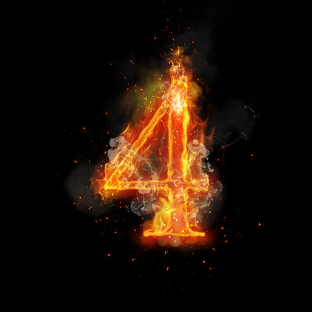 flame burn: Fire number 4 four of burning flame. Flaming burn font or bonfire alphabet text with sizzling smoke and fiery or blazing shining heat effect. Incandescent hot red fire glow on black background Stock Photo