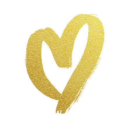 Golden heart vector hand drawn gold foil icon on white backgound for luxury wedding or birthday greeting card