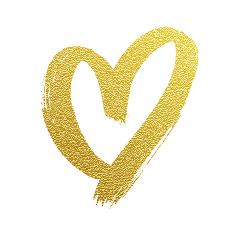 Valentine golden glitter heart vector hand drawn icon on white backgound for wedding greeting card