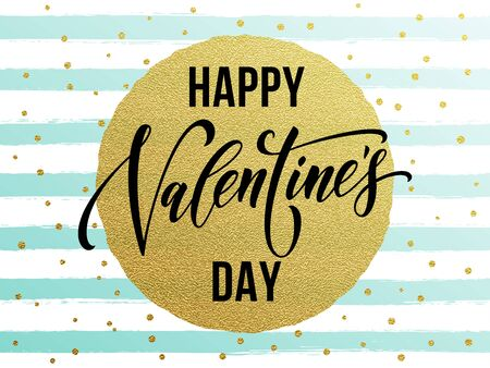 stipe: Gold Valentine Day calligraphy text with vector greeting card on white and watercolor blue stipe background with golden foil glitter dots Illustration