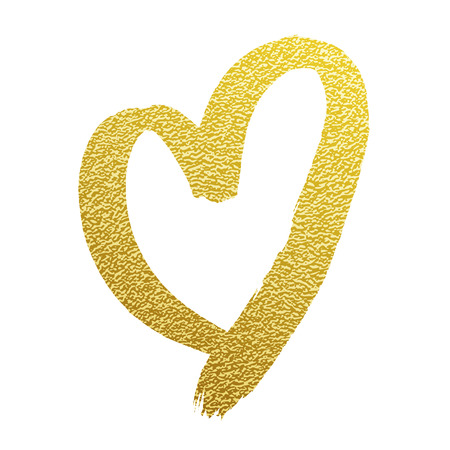 Heart gold glitter vector hand drawn calligraphy icon on white backgound for luxury wedding or birthday greeting card