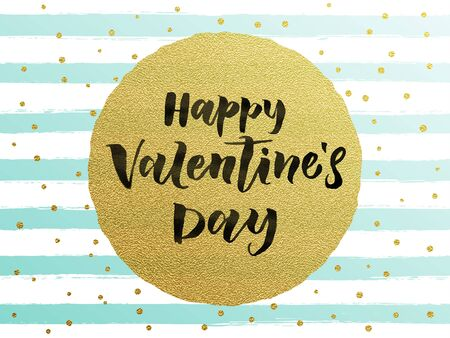 Luxury gold Valentines Day text lettering with golden metal foil circle and premium white and blue stripes for greeting card