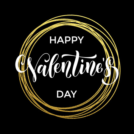 rayas: Vector gold Valentine Day text lettering with golden wreath circle ring for black luxurious greeting card