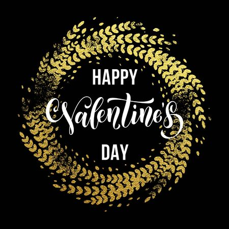 enamored: Gold Valentine Day calligraphy text with vector golden wreath print frame for luxury black greeting card