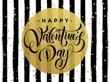 Gold Valentine Day calligraphy text with vector greeting card on white and black watercolor stripes background with golden foil glitter dots Illustration
