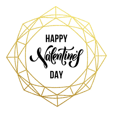Luxury gold Valentine Day text lettering on vector golden glitter crystal frame ornament for greeting card Illustration
