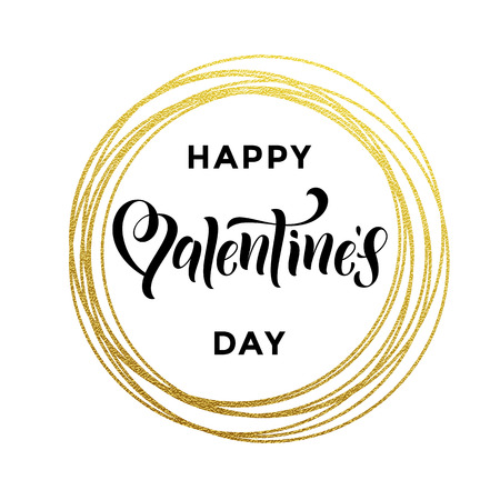 Gold Valentine Day calligraphy text on vector golden glittering circle for luxury white greeting card Vettoriali