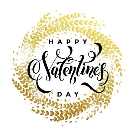 enamored: Vector gold luxury Valentine Day lettering text on golden ornament for premium white greeting card