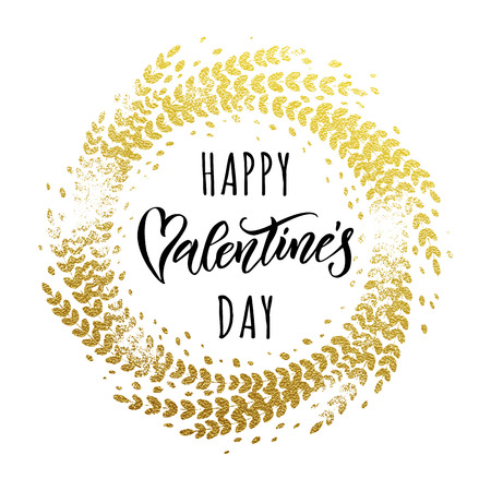 Luxury gold Valentine Day text lettering on vector golden glitter ornate circle for white greeting card Illustration