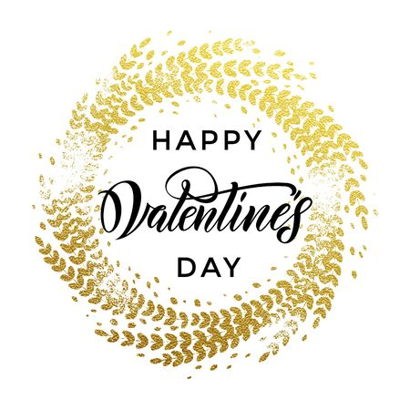 Vector gold luxury Valentine Day lettering text on golden ornament for premium white greeting card