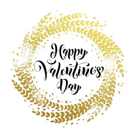 Valentine Day gold luxury calligraphy text on vector golden ornament for white premium greeting card Illustration