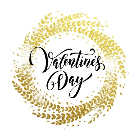 enamored: Premium gold Valentine Day lettering text on vector golden ornate wreath for luxury white greeting card Illustration