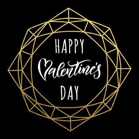 Premium Gold Valentine Day Schriftzug Text auf Vektor goldenen Kristallrahmen für Luxus schwarze Grußkarte