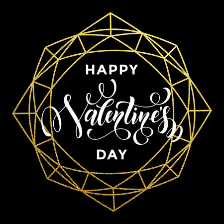 Gold Valentine Day calligraphy text on vector golden crystal glitter frame for luxury black greeting card Illustration