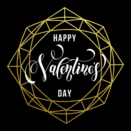Valentine Day gold luxury calligraphy text on vector golden crystal frame for black greeting card