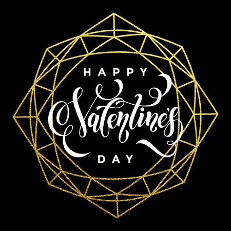 Luxury gold Valentine Day text lettering on vector golden glitter crystal frame ornament for black greeting card Illustration