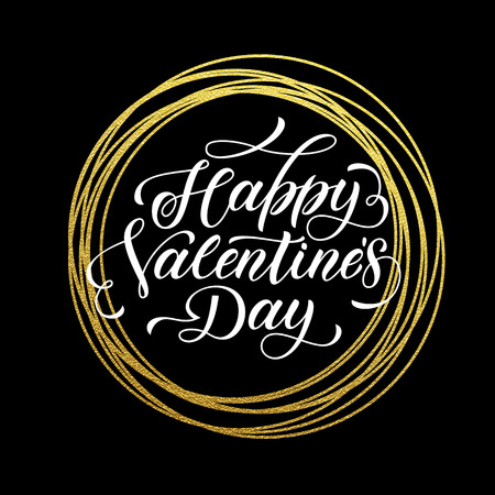 gold circle: Valentine Day gold luxury calligraphy text on vector golden circle for black premium greeting card