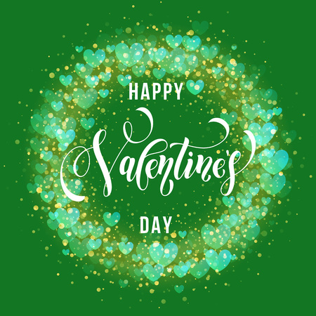 enamored: Premium Valentine hearts pattern and text lettering for luxury green greeting card