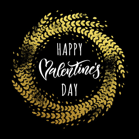 Gold Valentine Day calligraphy text on golden glittering wreath ornament for luxury black greeting card