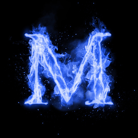 Fire letter M of burning blue flame. Flaming burn font or bonfire alphabet text with sizzling smoke and fiery or blazing shining heat effect. Incandescent cold fire glow on black background Foto de archivo