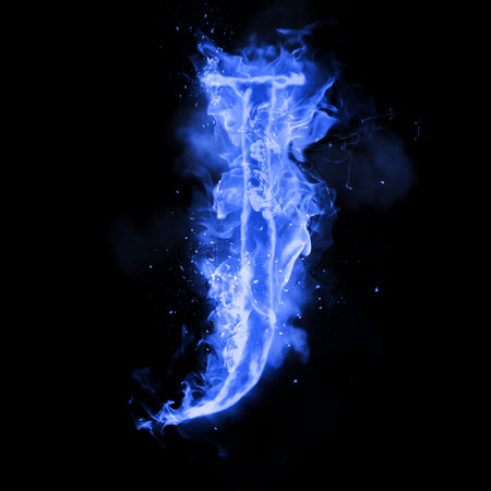 Fire letter J of burning blue flame. Flaming burn font or bonfire alphabet text with sizzling smoke and fiery or blazing shining heat effect. Incandescent cold fire glow on black background