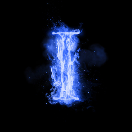 Fire letter I of burning blue flame. Flaming burn font or bonfire alphabet text with sizzling smoke and fiery or blazing shining heat effect. Incandescent cold fire glow on black background