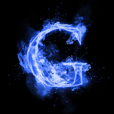 Fire letter G of burning blue flame. Flaming burn font or bonfire alphabet text with sizzling smoke and fiery or blazing shining heat effect. Incandescent cold fire glow on black background
