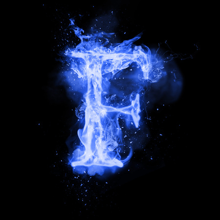 Fire letter F of burning blue flame. Flaming burn font or bonfire alphabet text with sizzling smoke and fiery or blazing shining heat effect. Incandescent cold fire glow on black background