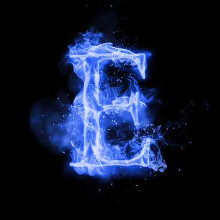 burning letter: Fire letter E of burning blue flame. Flaming burn font or bonfire alphabet text with sizzling smoke and fiery or blazing shining heat effect. Incandescent cold fire glow on black background