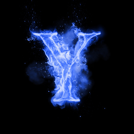 Fire letter Y of burning blue flame. Flaming burn font or bonfire alphabet text with sizzling smoke and fiery or blazing shining heat effect. Incandescent cold fire glow on black background