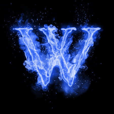 Fire letter W of burning blue flame. Flaming burn font or bonfire alphabet text with sizzling smoke and fiery or blazing shining heat effect. Incandescent cold fire glow on black background Imagens