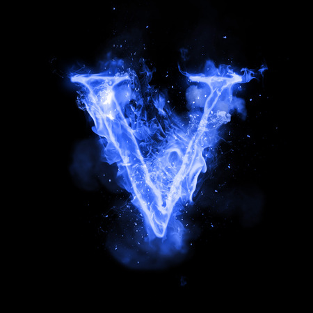 burning letter: Fire letter V of burning blue flame. Flaming burn font or bonfire alphabet text with sizzling smoke and fiery or blazing shining heat effect. Incandescent cold fire glow on black background