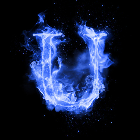 flame burn: Fire letter U of burning blue flame. Flaming burn font or bonfire alphabet text with sizzling smoke and fiery or blazing shining heat effect. Incandescent cold fire glow on black background Stock Photo