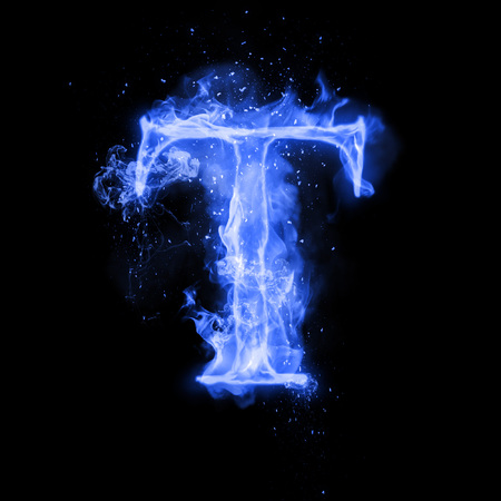 Fire letter T of burning blue flame. Flaming burn font or bonfire alphabet text with sizzling smoke and fiery or blazing shining heat effect. Incandescent cold fire glow on black background