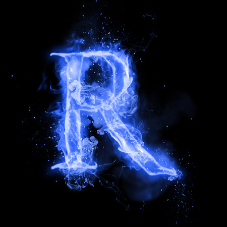 flame burn: Fire letter R of burning blue flame. Flaming burn font or bonfire alphabet text with sizzling smoke and fiery or blazing shining heat effect. Incandescent cold fire glow on black background Stock Photo