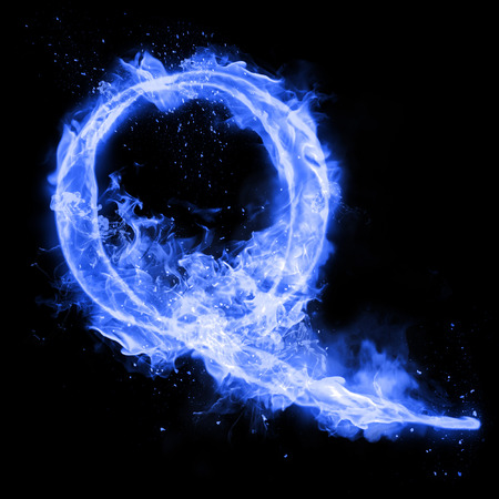 Fire letter Q of burning blue flame. Flaming burn font or bonfire alphabet text with sizzling smoke and fiery or blazing shining heat effect. Incandescent cold fire glow on black background